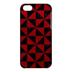 Triangle1 Black Marble & Red Leather Apple Iphone 5c Hardshell Case by trendistuff