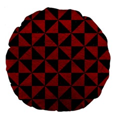 Triangle1 Black Marble & Red Leather Large 18  Premium Flano Round Cushions by trendistuff