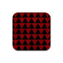Triangle2 Black Marble & Red Leather Rubber Square Coaster (4 Pack)  by trendistuff