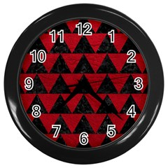 Triangle2 Black Marble & Red Leather Wall Clocks (black) by trendistuff
