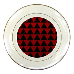 Triangle2 Black Marble & Red Leather Porcelain Plates by trendistuff
