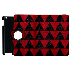 Triangle2 Black Marble & Red Leather Apple Ipad 2 Flip 360 Case by trendistuff