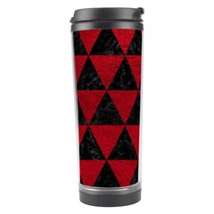 Triangle3 Black Marble & Red Leather Travel Tumbler by trendistuff
