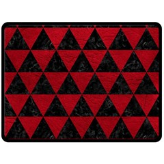 Triangle3 Black Marble & Red Leather Double Sided Fleece Blanket (large)  by trendistuff
