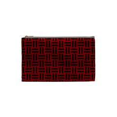 Woven1 Black Marble & Red Leather Cosmetic Bag (small)  by trendistuff