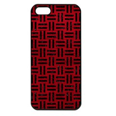 Woven1 Black Marble & Red Leather Apple Iphone 5 Seamless Case (black) by trendistuff
