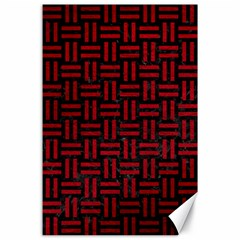 Woven1 Black Marble & Red Leather (r) Canvas 24  X 36  by trendistuff