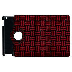 Woven1 Black Marble & Red Leather (r) Apple Ipad 3/4 Flip 360 Case by trendistuff