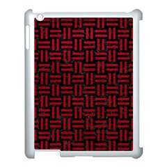 Woven1 Black Marble & Red Leather (r) Apple Ipad 3/4 Case (white)