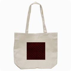 Woven2 Black Marble & Red Leather (r) Tote Bag (cream) by trendistuff