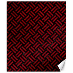 Woven2 Black Marble & Red Leather (r) Canvas 20  X 24   by trendistuff