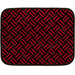 Woven2 Black Marble & Red Leather (r) Double Sided Fleece Blanket (mini)  by trendistuff