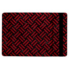 Woven2 Black Marble & Red Leather (r) Ipad Air Flip by trendistuff