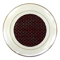 Brick1 Black Marble & Red Watercolor (r) Porcelain Plates by trendistuff