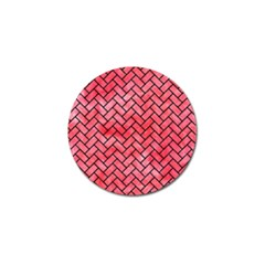 Brick2 Black Marble & Red Watercolor Golf Ball Marker (10 Pack) by trendistuff
