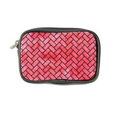 Brick2 Black Marble & Red Watercolor Coin Purse by trendistuff
