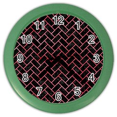 Brick2 Black Marble & Red Watercolor (r) Color Wall Clocks by trendistuff