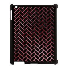 Brick2 Black Marble & Red Watercolor (r) Apple Ipad 3/4 Case (black) by trendistuff