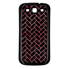 Brick2 Black Marble & Red Watercolor (r) Samsung Galaxy S3 Back Case (black) by trendistuff