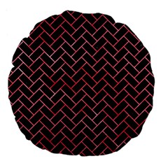 Brick2 Black Marble & Red Watercolor (r) Large 18  Premium Flano Round Cushions by trendistuff