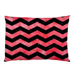 Chevron3 Black Marble & Red Watercolor Pillow Case by trendistuff