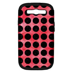 Circles1 Black Marble & Red Watercolor Samsung Galaxy S Iii Hardshell Case (pc+silicone) by trendistuff