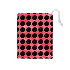 Circles1 Black Marble & Red Watercolor Drawstring Pouches (medium)  by trendistuff