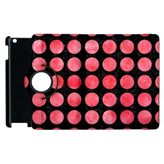 Circles1 Black Marble & Red Watercolor (r) Apple Ipad 3/4 Flip 360 Case by trendistuff