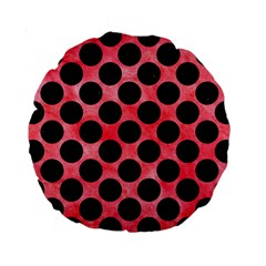 Circles2 Black Marble & Red Watercolor Standard 15  Premium Round Cushions by trendistuff