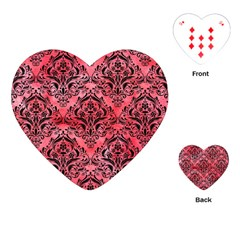 Damask1 Black Marble & Red Watercolor Playing Cards (heart)  by trendistuff