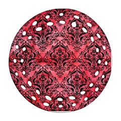 Damask1 Black Marble & Red Watercolor Round Filigree Ornament (two Sides) by trendistuff
