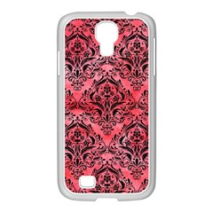 Damask1 Black Marble & Red Watercolor Samsung Galaxy S4 I9500/ I9505 Case (white) by trendistuff