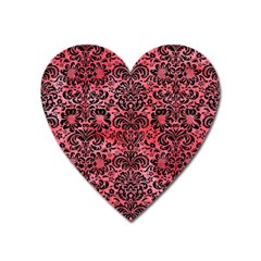 Damask2 Black Marble & Red Watercolor Heart Magnet by trendistuff