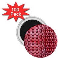 Hexagon1 Black Marble & Red Watercolor 1 75  Magnets (100 Pack)  by trendistuff