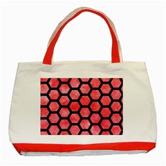 Hexagon2 Black Marble & Red Watercolor Classic Tote Bag (red) by trendistuff