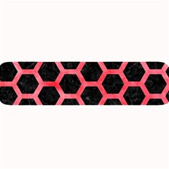 Hexagon2 Black Marble & Red Watercolor (r) Large Bar Mats by trendistuff