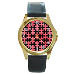 Puzzle1 Black Marble & Red Watercolor Round Gold Metal Watch by trendistuff