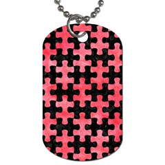 Puzzle1 Black Marble & Red Watercolor Dog Tag (two Sides) by trendistuff