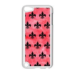 Royal1 Black Marble & Red Watercolor (r) Apple Ipod Touch 5 Case (white) by trendistuff