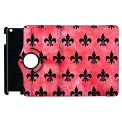 Royal1 Black Marble & Red Watercolor (r) Apple Ipad 2 Flip 360 Case by trendistuff