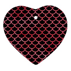 Scales1 Black Marble & Red Watercolor (r) Heart Ornament (two Sides) by trendistuff