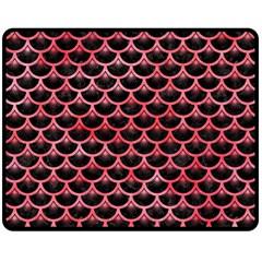 Scales3 Black Marble & Red Watercolor (r) Double Sided Fleece Blanket (medium)  by trendistuff
