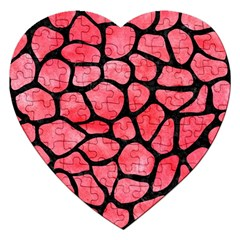 Skin1 Black Marble & Red Watercolor (r) Jigsaw Puzzle (heart) by trendistuff