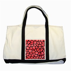 Skin1 Black Marble & Red Watercolor (r) Two Tone Tote Bag by trendistuff