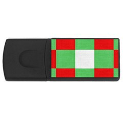Fabric Christmas Colors Bright Rectangular Usb Flash Drive by Onesevenart