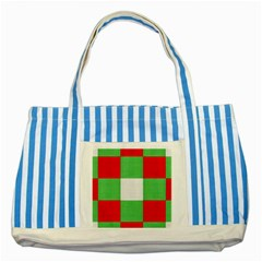 Fabric Christmas Colors Bright Striped Blue Tote Bag by Onesevenart