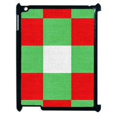 Fabric Christmas Colors Bright Apple Ipad 2 Case (black) by Onesevenart
