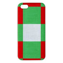 Fabric Christmas Colors Bright Apple Iphone 5 Premium Hardshell Case by Onesevenart