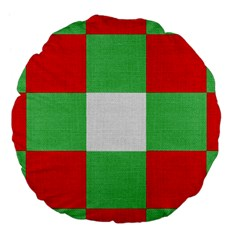 Fabric Christmas Colors Bright Large 18  Premium Flano Round Cushions by Onesevenart