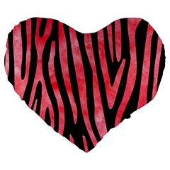 Skin4 Black Marble & Red Watercolor Large 19  Premium Flano Heart Shape Cushions by trendistuff
